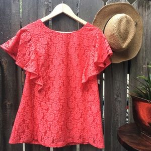 NWT Bright Coral Lace Flutter Sleeve Top