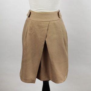 pour la frime tan skirt FRENCH khaki pleated fall