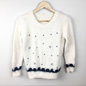 VINTAGE Blue & Cream Star Crewneck Sweater