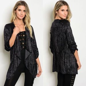 Sweaters - HP 🎉 Crushed Velvet Robe Style Cardigan Tie Waist