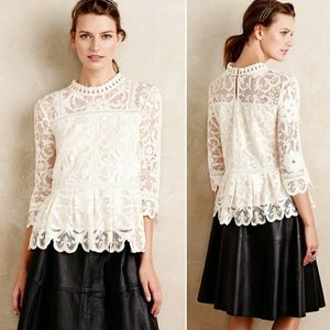 Anthropologie Nautical Lace Top