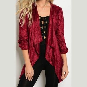Tops - Crushed Velvet Red Robe Style Cardigan Waist Tie