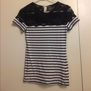 H&M striped with black lace top
