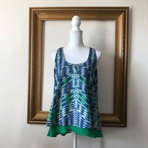 Maeve anthropologie green blue ikat tank blouse, M