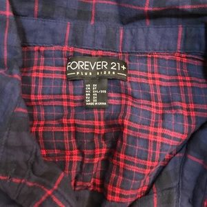 48992f5c074 Forever 21 Tops - PLUS SIZE Blue Red Plaid Button Down Shirt