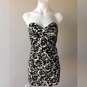 Forever 21--Black Floral Sweetheart Dress