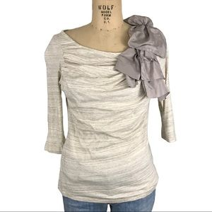 Anthro Deletta oatmeal knit draped top embellished