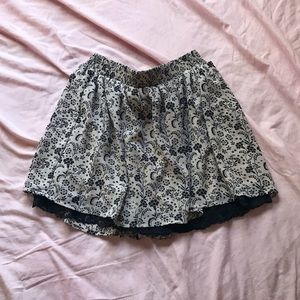floral skirt with lace underlay