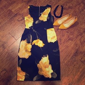 BNWT Black and yellow floral sheath dress
