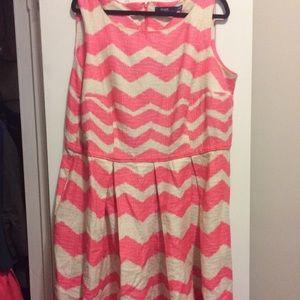 Eloquii pink and tan dress