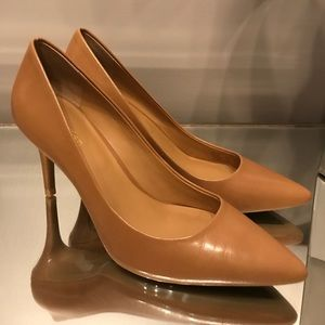 Calvin Klein caramel color pumps with gold accents