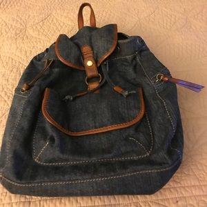 Lucky brand denim  drawstring closure backpack
