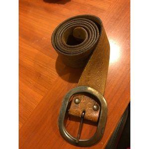 Vintage Leather Belt with Floral detail