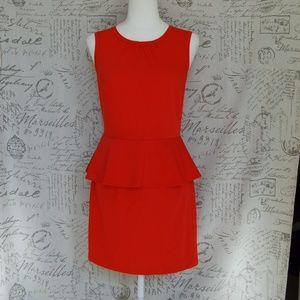 H&M Orange Sleeveless Peplum Dress size 8