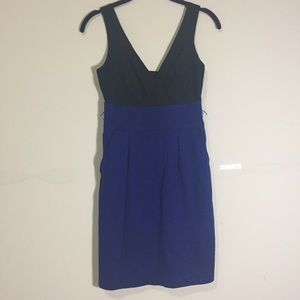 EXPRESS: black and blue colorblock sheath dress