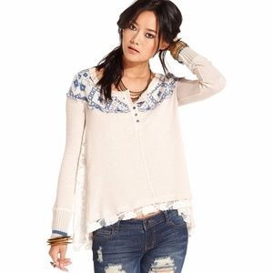 Free People Oatmeal Combo Lace Thermal