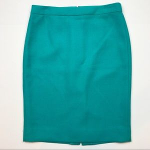 J. Crew #2 Pencil Skirt in Teal