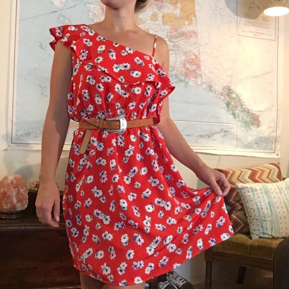 Xhilaration Dresses - NWT Red Floral One Shoulder Dress