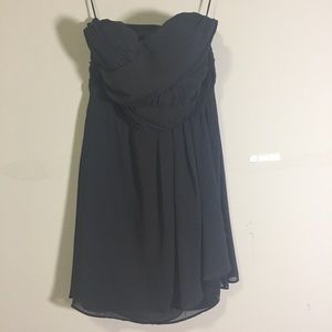 EXPRESS: gray strapless chiffon dress