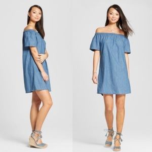 NWT Chambray Off the Shoulder Dress