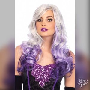 Long Wavy Wig in Gray and Purple Ombré