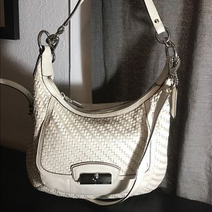 Woven leather coach Purse