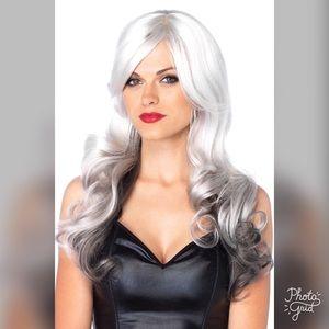 Long Wavy Gray Silver & Black Ombré Wig