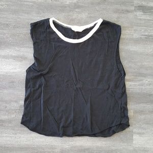 Black White Trim Melville Muscle Crop