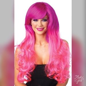 2Tone Extra Long Pink Wavy Halloween Wig