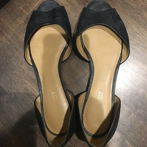 Nine West Peep Toe Black Leather Flats