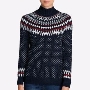Eddie Bauer Fair Isle Sweater Navy Red White S