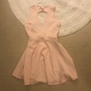 Pink Forever 21 Deep V Cut-Out Dress