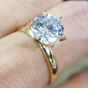 14k Solid Yellow Gold 3ct Round Engagement Ring