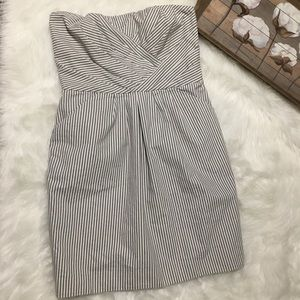 French Connection Gray Strapless Striped Dress 10P