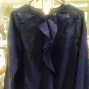 J.Crew Ruffled Button down Shirt In Navy Blue 100%