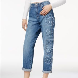 Guess logo patch straight leg jeans
