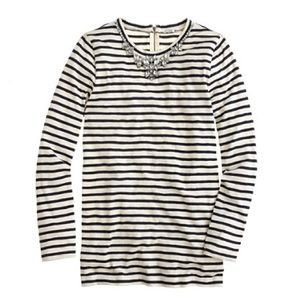 J. Crew Stripe Necklace Tee