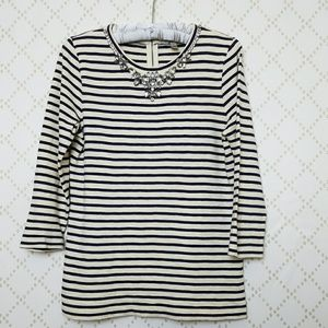 J. CREW Striped Rhinestone Embellished Tunic Tee