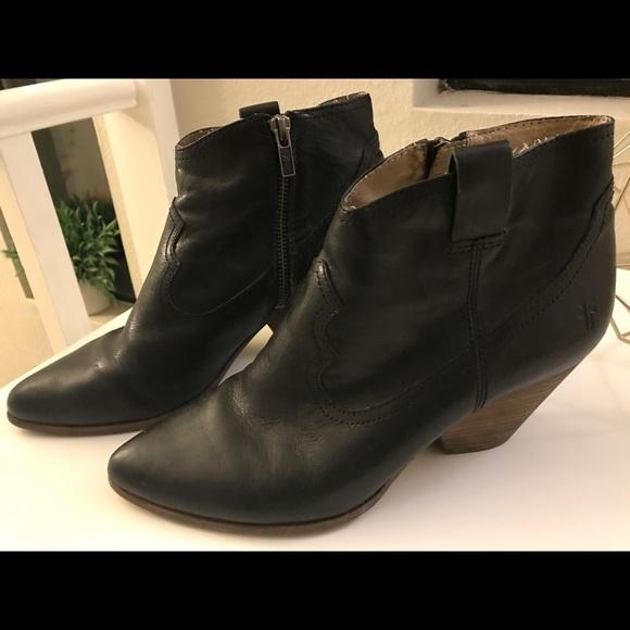 55140185141 Frye Shoes | Reina Black Ankle Booties | Poshmark