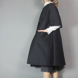 Vintage 60s Trapeze Coat with Short Sleeves