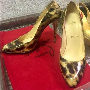 Christian Louboutin patent leather leopard pumps