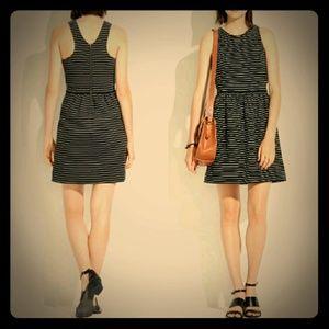 Madewell Pierside Back Zip Striped Dress