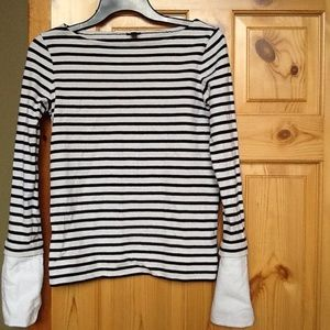 J.Crew Striped Boatneck Top w/Cuffs, Sz XXS, EUC