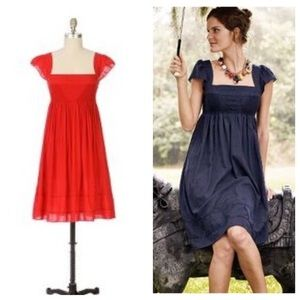 Anthro Maeve Supreme Grace Coral Peasant Dress