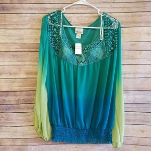 Tops - GREEN AND BLUE BLOUSE 3X