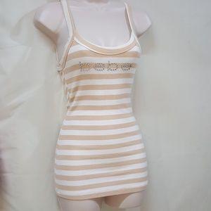 BEBE Tan/White Stripe Strapped Cami Top Rhinestone