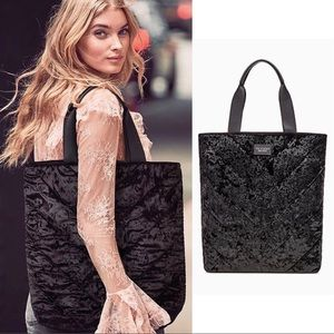NWT VICTORIA'S SECRET VELVET TOTE BLACK