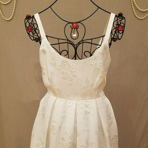 F21 Elegant White Floral Embossed Skater Dress