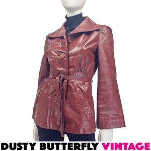VINTAGE 70s LEATHER JACKET Bell Sleeves OXBLOOD