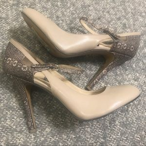 Nine West Nude and Snakeskin Pattern Heels {sz 11}